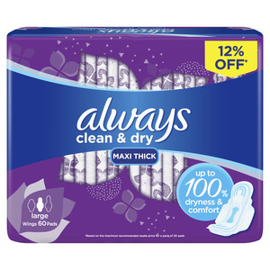 Always Clean & Dry Maxi Thick Large Sanitary Pads 60s