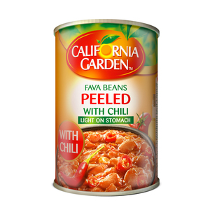 California Garden Peeled Fava Beans With Chili 3x450g