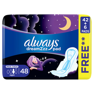 Always Clean & Dry Maxi Thick Night Sanitary Pads With Wings 48 pcs