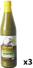 Excellence Hot Sauce Jalapeno 3x6oz