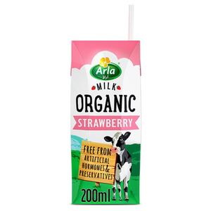 Arla Organic Strawberry Milk 12x200ml