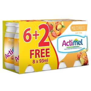 Actimel Dairy Drink Low Fat Multifruit 8x93ml