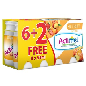 Actimel Multi-Fruit Flavored Low Fat Dairy Drink 8x93ml