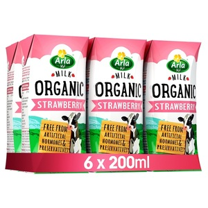 Arla Organic Strawberry Milk 6x200ml