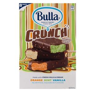 Bulla Crunch Ice Cream Sticks Orange, Mint & Vanilla 631ml