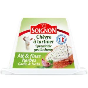 Soignon Spreadable Goat Cheese With Garlic & Fine Herbs 140g