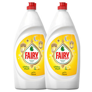 Fairy Lemon Dish Washing Liquid Soap 2x750ml