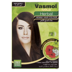 Vasmol Gold Herbal Henna Dark Brown 10pack