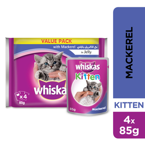 Whiskas In Jelly with Mackarel Wet Cat Food Kitten Up to 1 year Pouch 4x85g