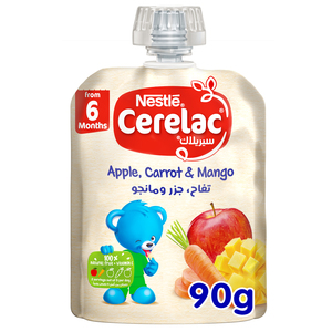 Nestle Cerelac Fruits & Vegetables Puree Pouch Apple Carrot Mango From 6 Months 90g