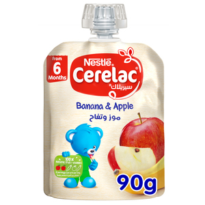 Nestle Cerelac Fruits Puree Pouch Banana Apple From 6 Months 90g