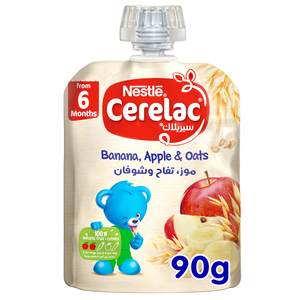 Nestle Cerelac Fruits Puree Pouch Banana Apple Oat From 6 Months 90g