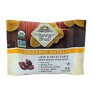 Sunny Fruit Organic Lush & Delectable Dried Deglet Nour Dates Gluten Free Nut Free No Added Sugar 50g
