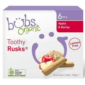 Organic Bubs Toothy Rusk Apple And Barley Lactose Free 100g