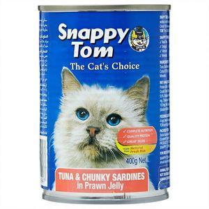 Snappy Tom Cat Food Tuna And Chunky Sardines In Prawn Jelly 400g