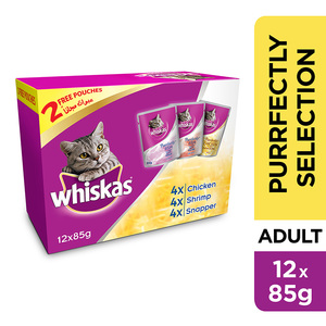 Whiskas Purrfectly Selection (Chicken, Shrimp & Snapper) Wet Cat Food Pouch 12x85g