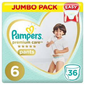 Pampers Premium Care Pants Diapers Size 6 Extra Large >16Kg Jumbo Pack 36 pcs