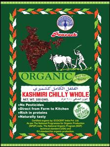 Peacock Organic Kashmiri Chili Whole 100g