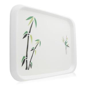 Union Bamboo Tree Print Rectangular Tray White 1pc