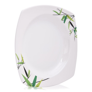 Union Bamboo Tree Print Serving Plate White 1pc