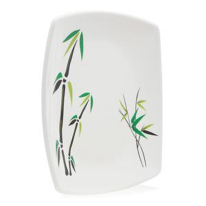 Union Bamboo Tree Print Square Plate White 1pc