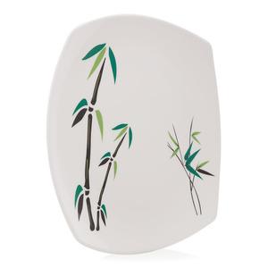 Union Bamboo Tree Print Square Shape Plate White 1pc