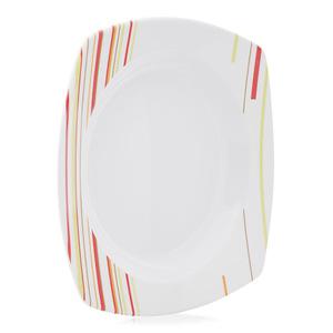 Union Striped Pattern Serving Plate White 1pc