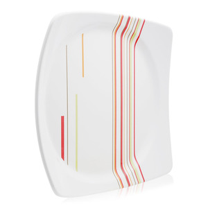 Union Striped Pattern Square Shape Plate White 1pc
