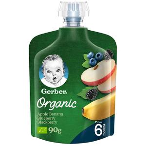 Gerber Organic Apple, Banana, Blueberry & Blackberry From 6 Months 90g