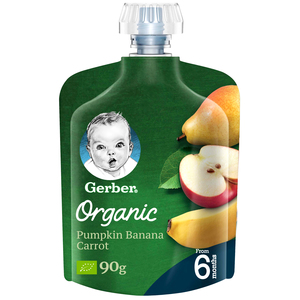 Gerber Organic Pear, Apple & Banana From 6 Months 90g