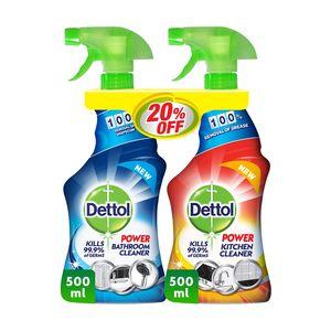 Dettol Orange Healthy Kitchen Power Cleaner Spray & Healthy Bathroom Power Cleaner Trigger 500ml+500ml
