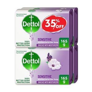 Dettol Sensitive Anti-Bacterial Bathing Soap Bar Lavender & White Musk Fragrance 4x165g