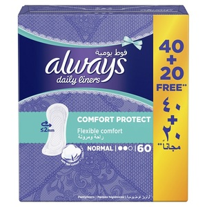Always Daily Liners Comfort Protect Normal 60pcs