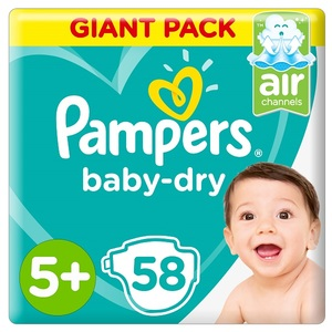 Pampers Baby-Dry Diapers Size 5+ Junior + 12-17 Kg Giant Pack 58 pcs