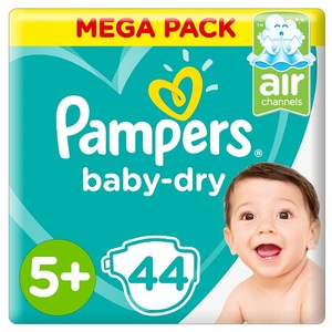 Pampers Baby-Dry Diapers Size 5+ Junior+ 12-17Kg Mega Pack 44 pcs