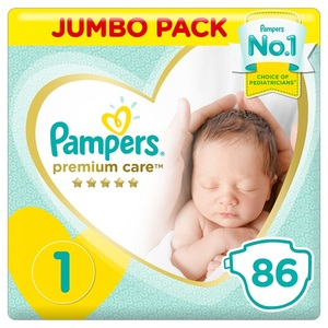 Pampers Premium Care Diapers Size 1 Newborn 2-5 Kg Jumbo Pack 86 pcs