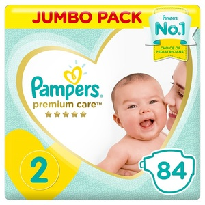 Pampers Premium Care Diapers Size 2 Mini 3-8 Kg Jumbo Pack 84 pcs