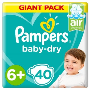 Pampers Baby-Dry Diapers Size 6+ Extra Large+ 14+Kg Giant Pack 40 pcs