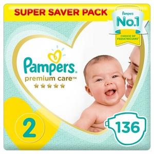 Pampers Premium Care Diapers Size 2 Mini 3-8 Kg Super Saver Pack 136 pcs