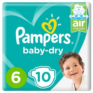 Pampers Baby-Dry Diapers Size 6 Extra Large 13+Kg Carry Pack 10 pcs