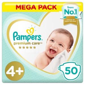 Pampers Premium Care Diapers Size 4P Maxi Plus 10-15 Kg Mega Pack 50 pcs