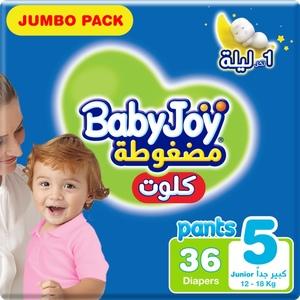 BabyJoy Cullotte Pants Diaper, Jumbo Pack Junior Size 5, 15 - 22 Kg 36pcs