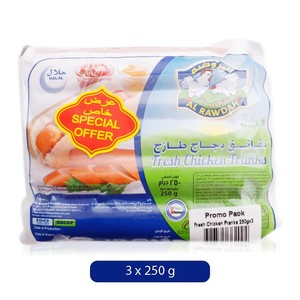 Alrawdah Fresh Chicken Franks Promo 3x250g