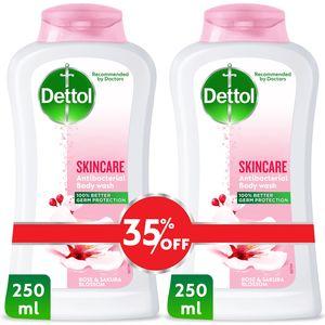 Dettol Skincare Showergel & Bodywash Rose & Sakura Blossom Fragrance 2x250ml