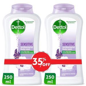 Dettol Sensitive Showergel & Bodywash Lavender & White Musk Fragrance 2x250ml