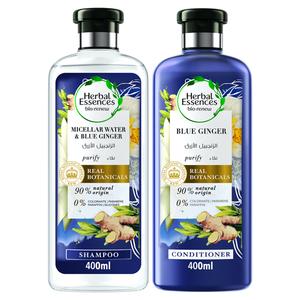 Herbal Essences Bio Renew Micellar Water & Blue Ginger Shampoo With Conditioner 400ml+400ml