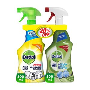 Dettol Lemon Healthy Home All Purpose Cleaner Trigger + Mould & Mildew Remover Twin Pack 500ml+500ml
