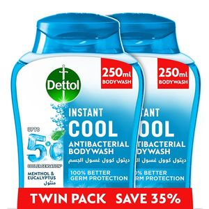 Dettol Instant Cool Menthol & Eucalyptus Liquid Antibacterial Body Wash for 100% Better Germ Protection & Personal Hygiene Twin Pack @ 35% Off 500ml