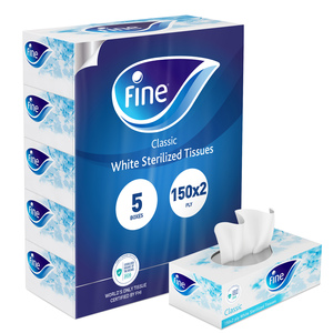 Fine Sterilized Facial Tissues Classic White Tissues 6x150s