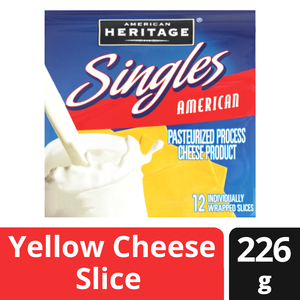 American Heritage Cheese Slices Single Us Yellow 227g